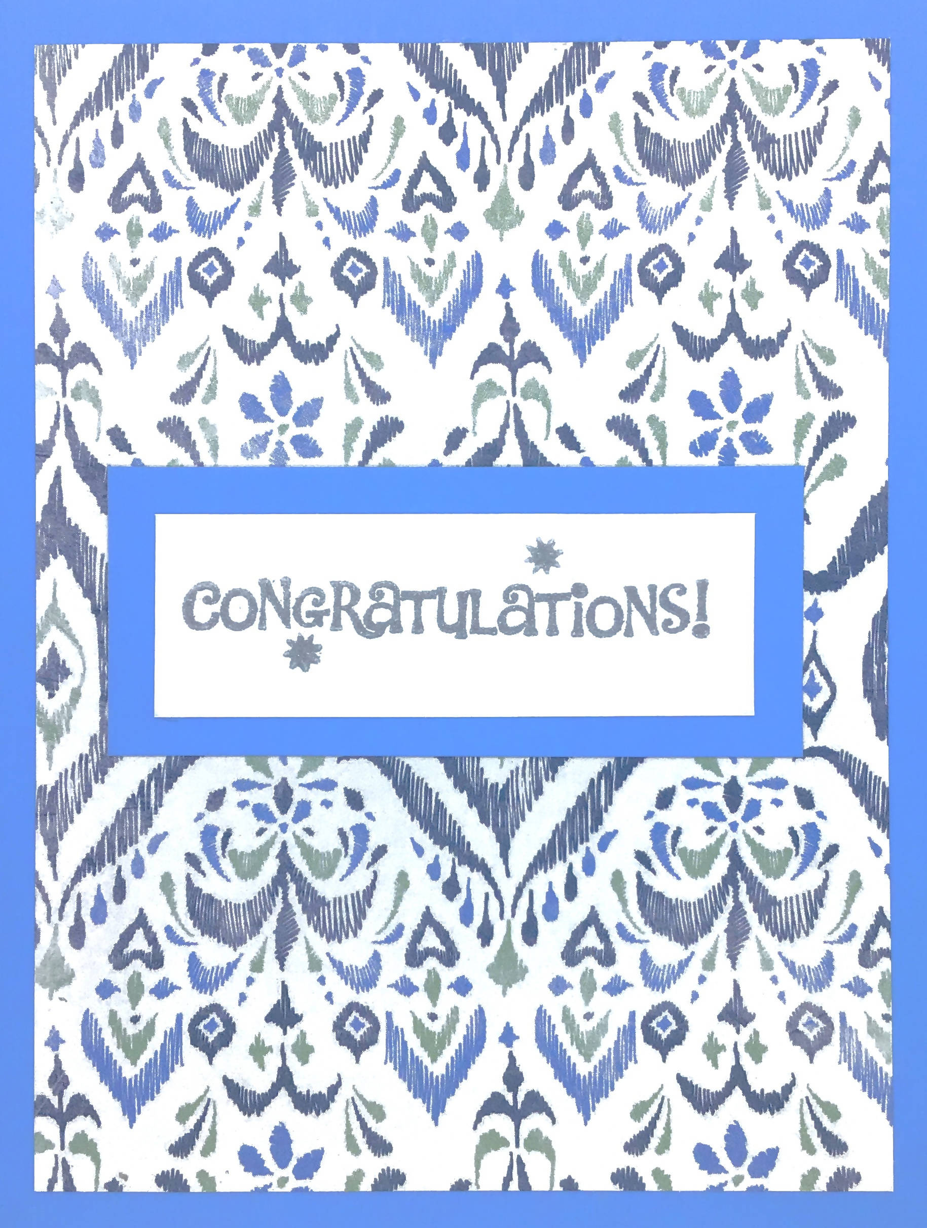 Congratulations Card (Blue and Silver)