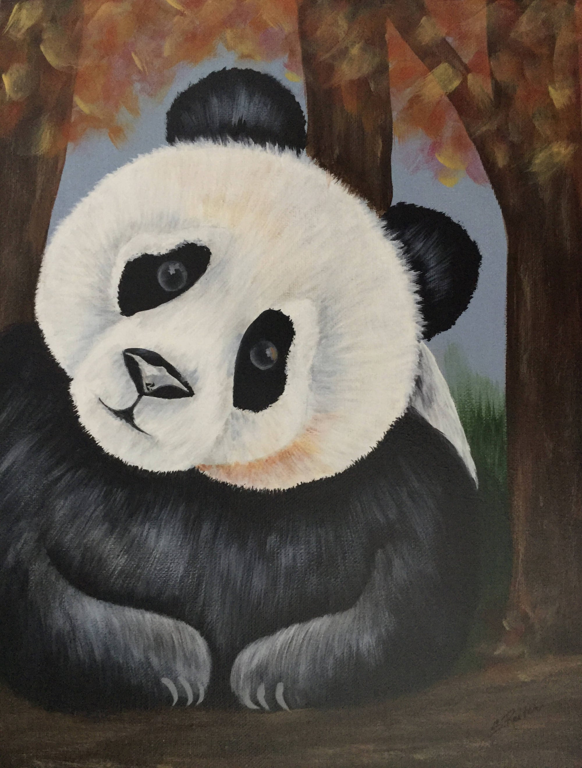Original Painting of a Panda Bear on Canvas
