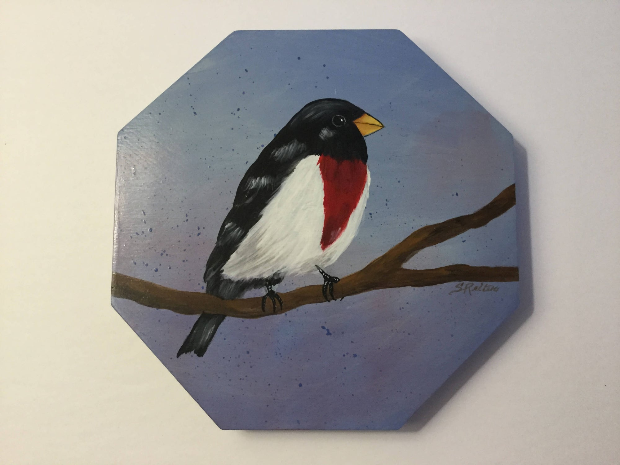 Small Wooden Box with a Hand Painted Red Breasted Grosbeak- Great as a Little Tea Box
