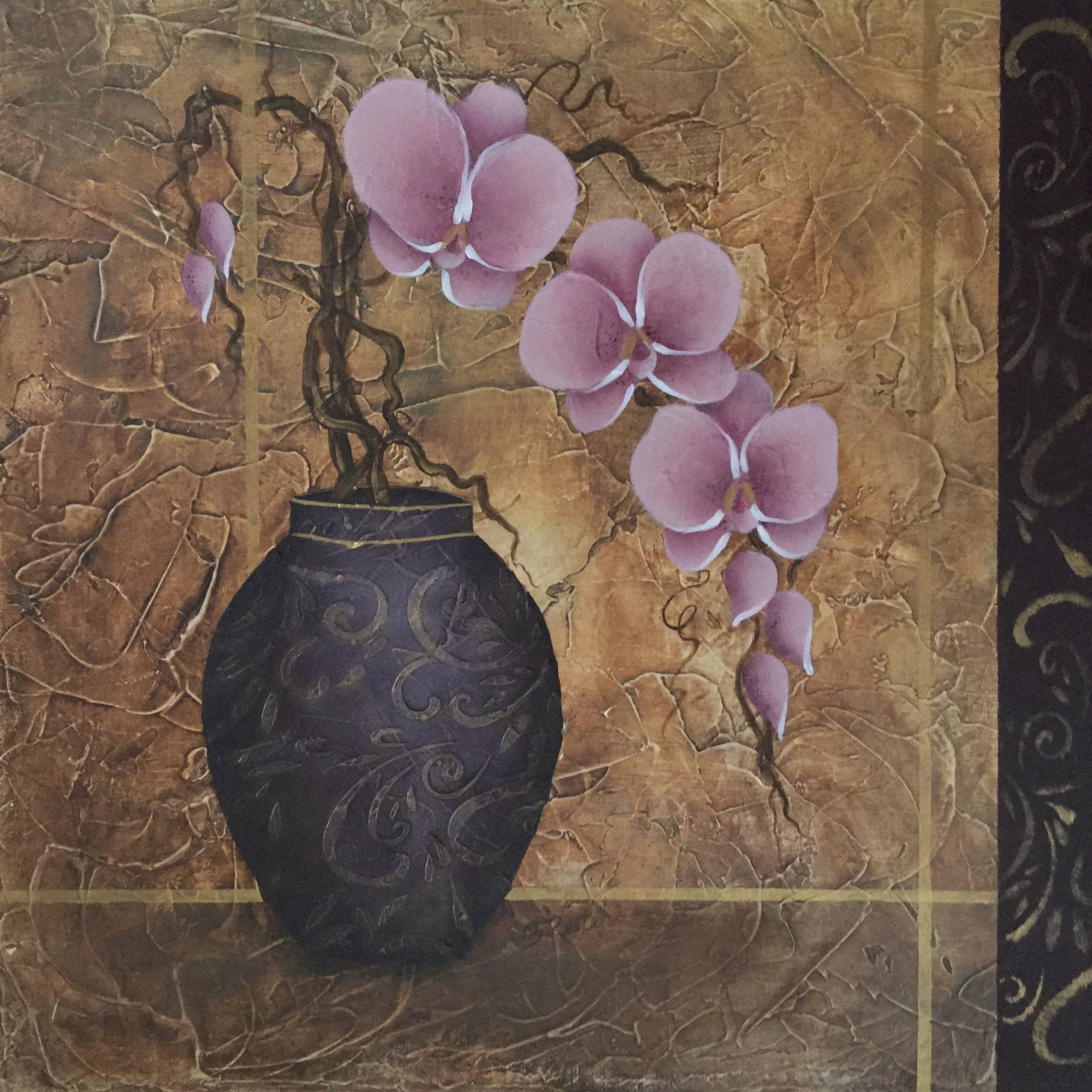A Square Gallery Canvas Painting of a Pink Orchid in An Embossed Vase