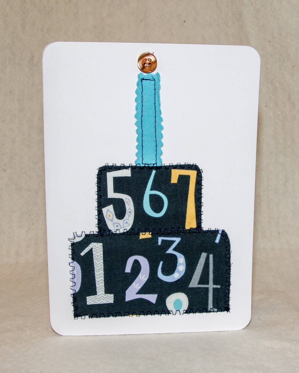 Birthday Cake Greeting card - Handmade- Fabric on Paper / Blank Inside for any occasion