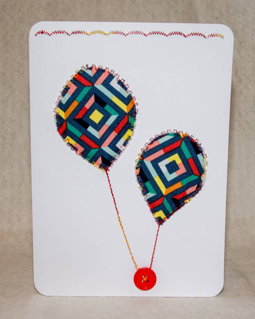 Balloons! Greeting Card - Handmade - Fabric and buttons on paper / Blank Inside