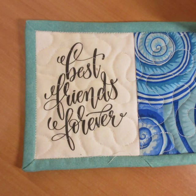 BEST FRIENDS FOREVER Handmade Mug Rug
