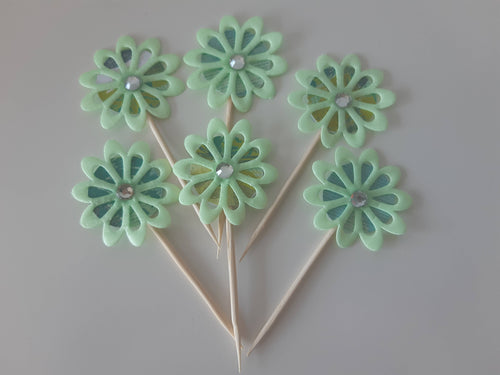 Satin Green Flowers Cupcake Toppers