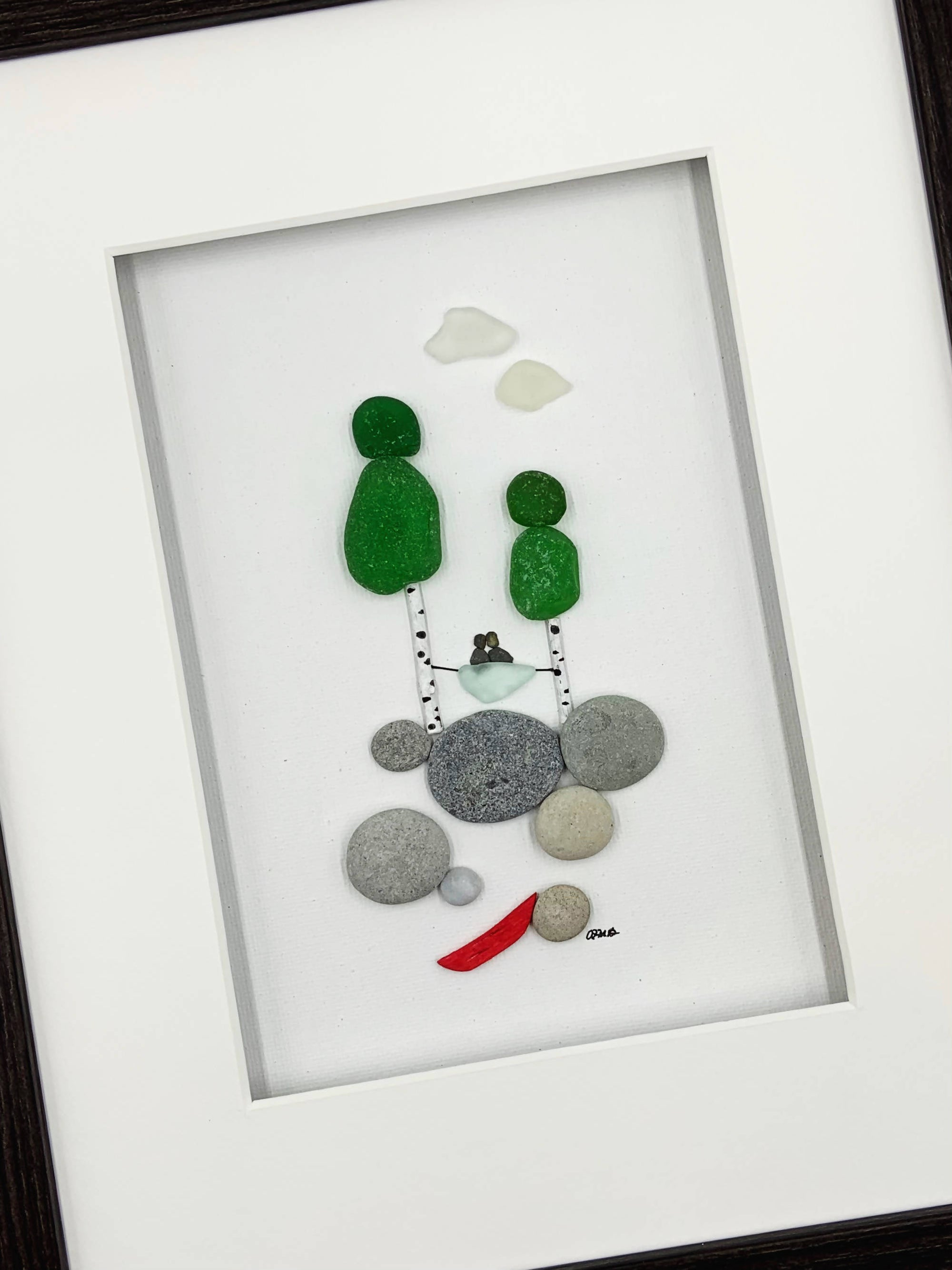 Pebble art, 8 by 10, couple