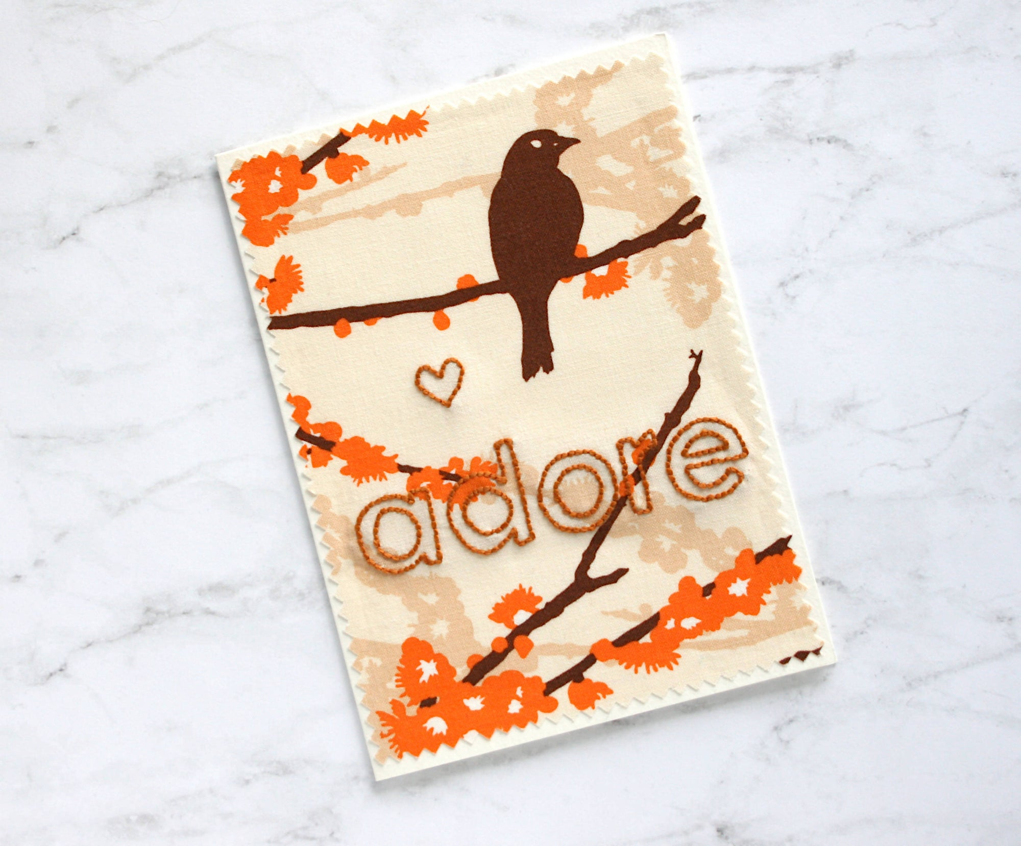 adore - hand embroidered greeting card (birds)