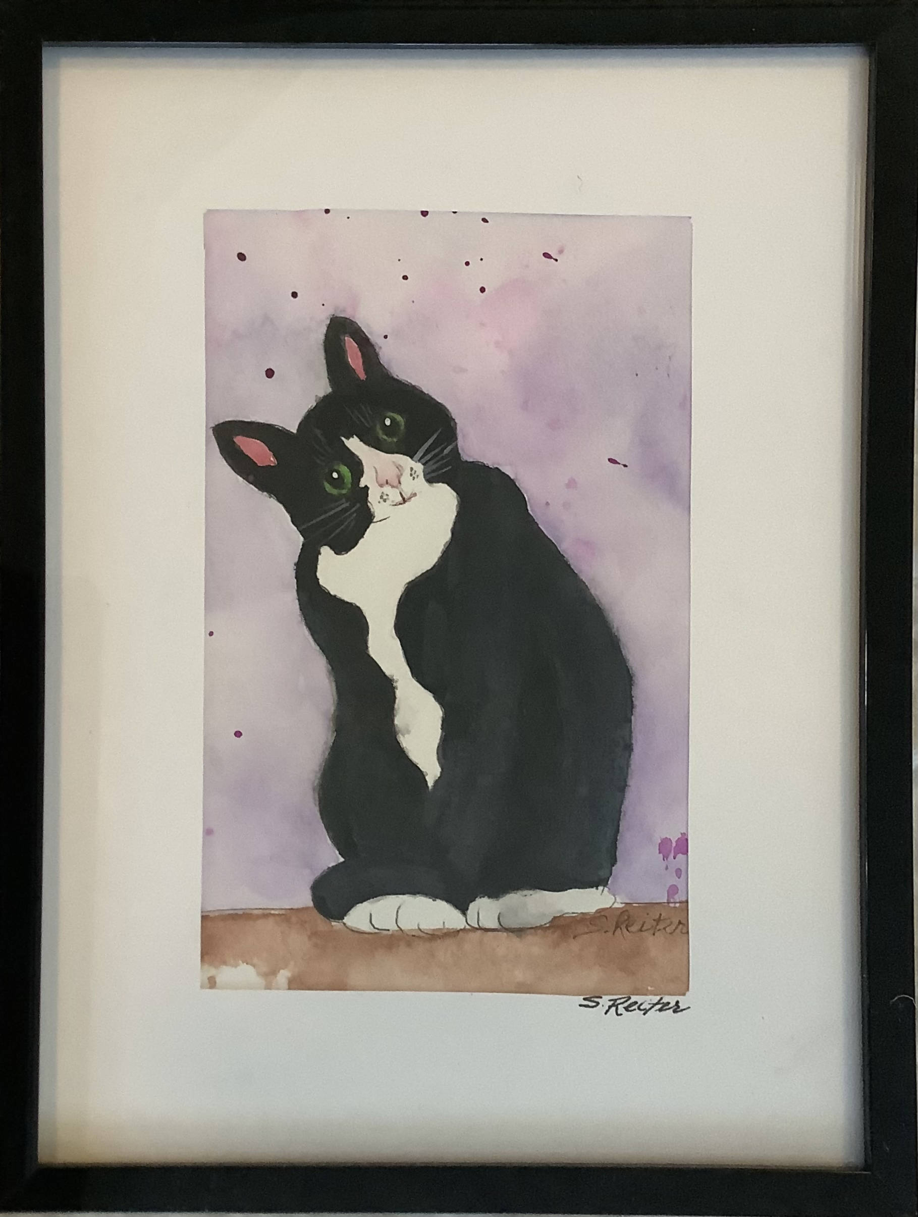 Small Watercolour Painting of a Black and White Cat - Framed