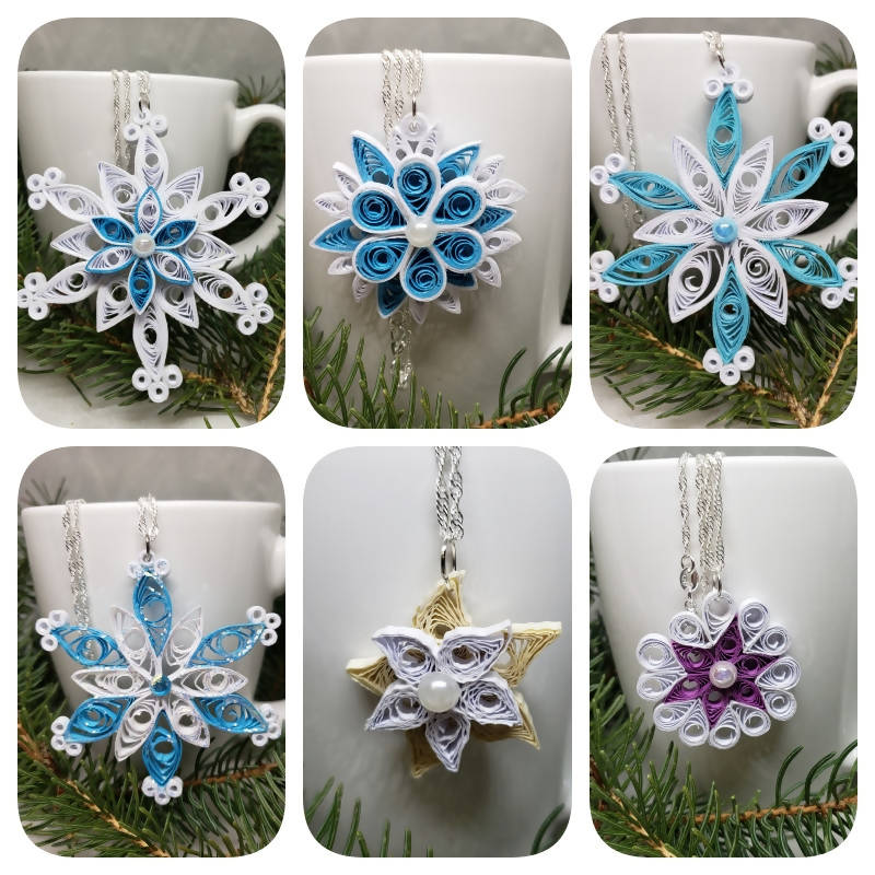 """FREE SHIPPING"" Quilled Snowflake Necklaces (Sterling Silver)"