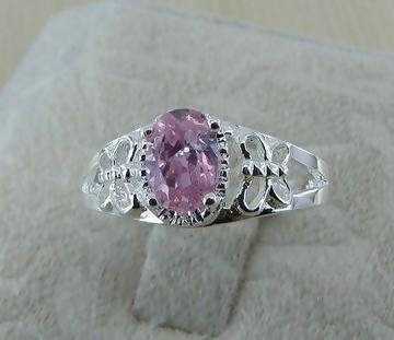 925 Silver Pink Butterfly Ring Size 7