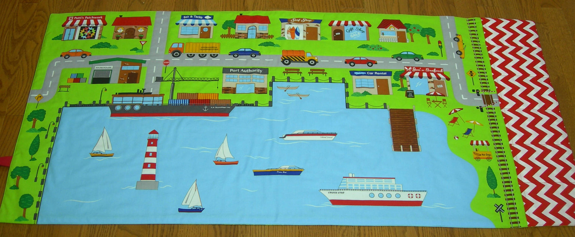 Made to Order Harbour Play Mat - Connectable Fold Up Travel Beach Quilt With Pockets for Toy Storage