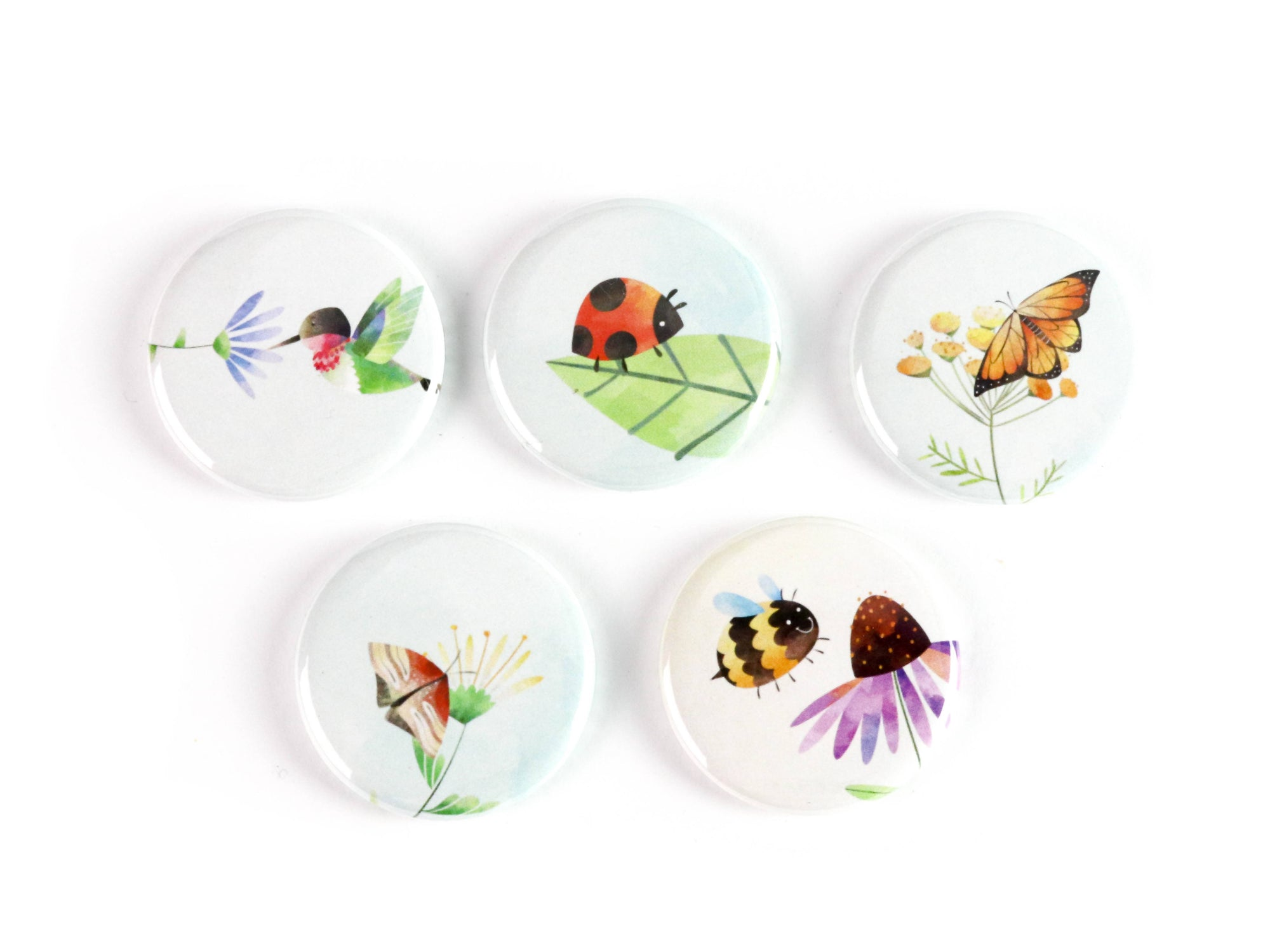 Pollinators, Garden Friends Ceramic Magnets or Pinback Buttons: Supports The Ottawa Food Bank's Community Harvest Program