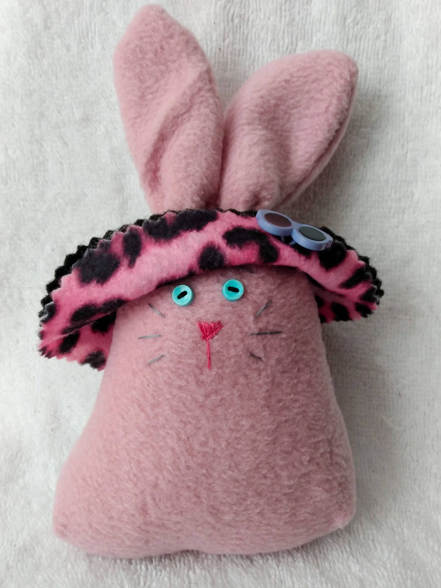 Rose Pink Bunny with Black and Pink Leopard Print Bonnet