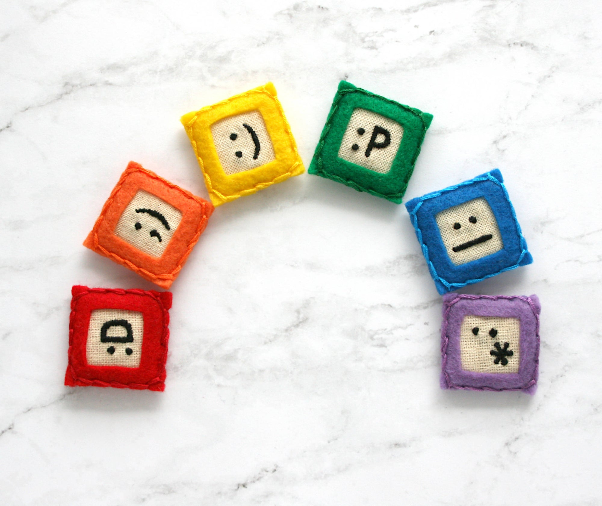 embroidered emoji magnets - set of 6 (original)