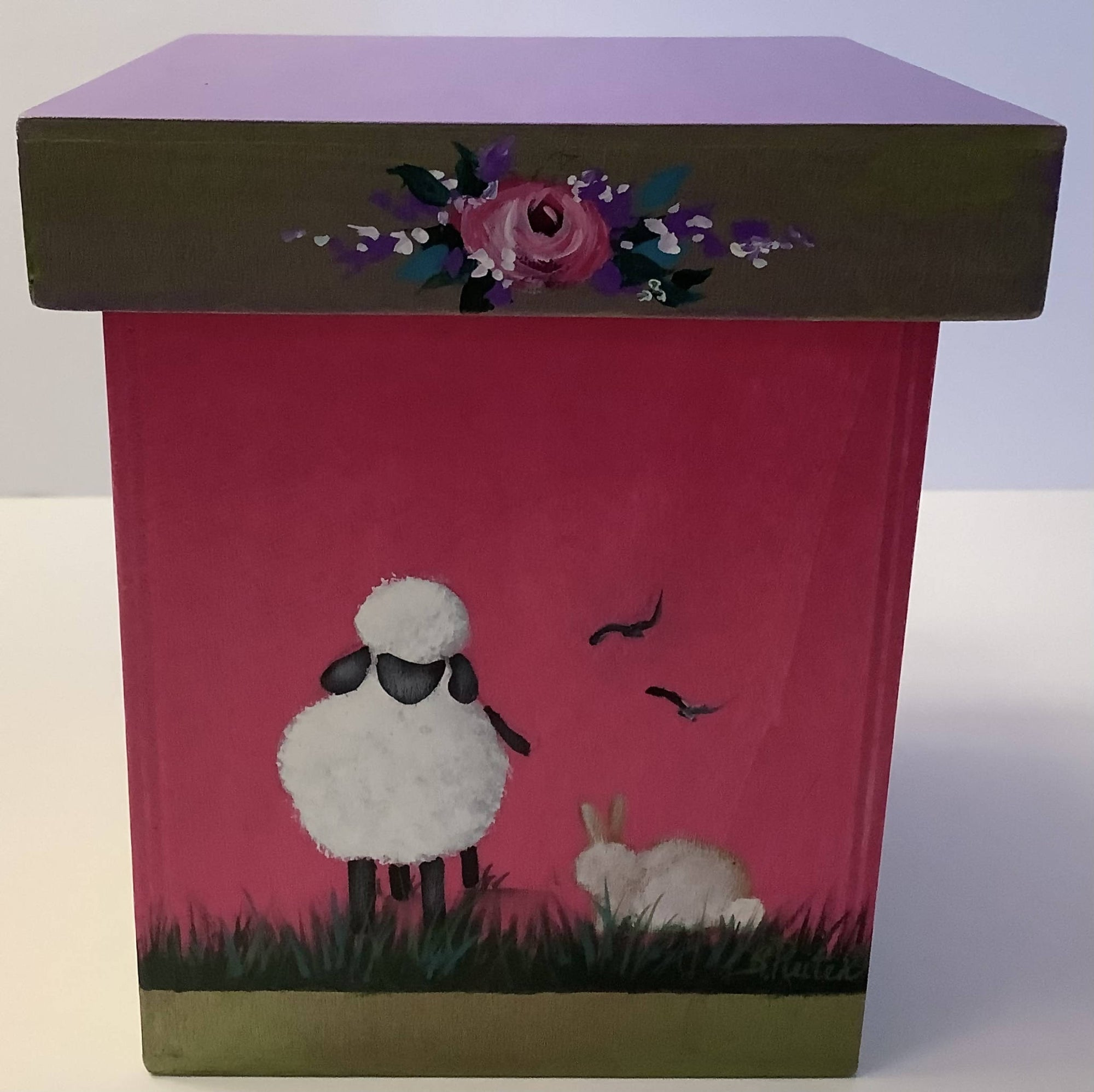 Small Wooden Box Perfect for Spring. Hand Painted on 4 Sides With Different Lambs and Bunnies.