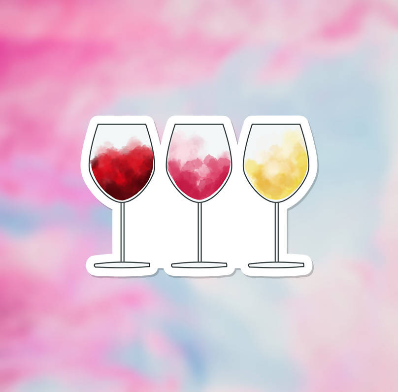 "Watercolour Wine Vinyl Sticker (3"") - glossy finish"