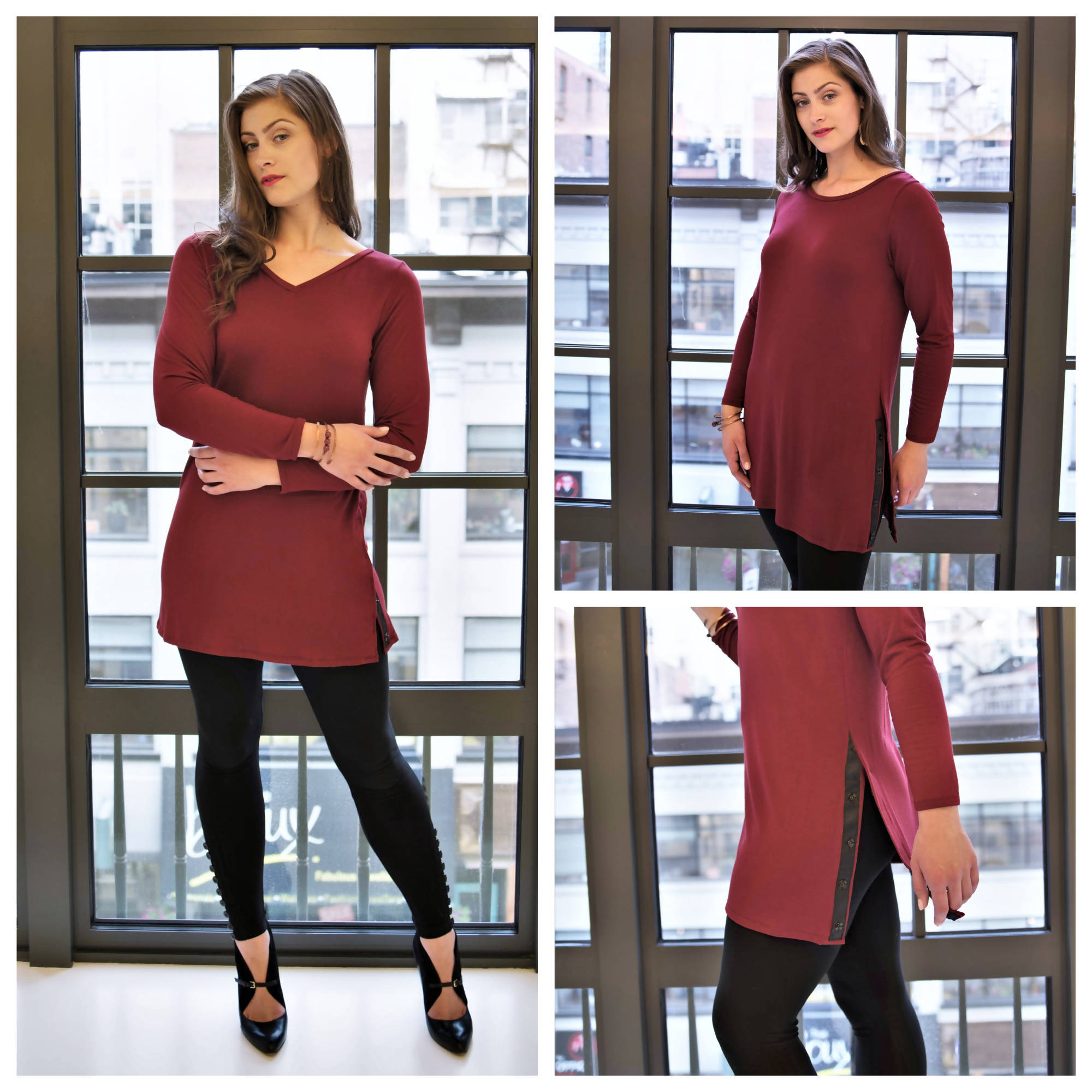 Womens Clothing - Long Sleeve Top - Tunics for Women - Tunic Tops - Reversible Sycamore Snap Modal Tunic