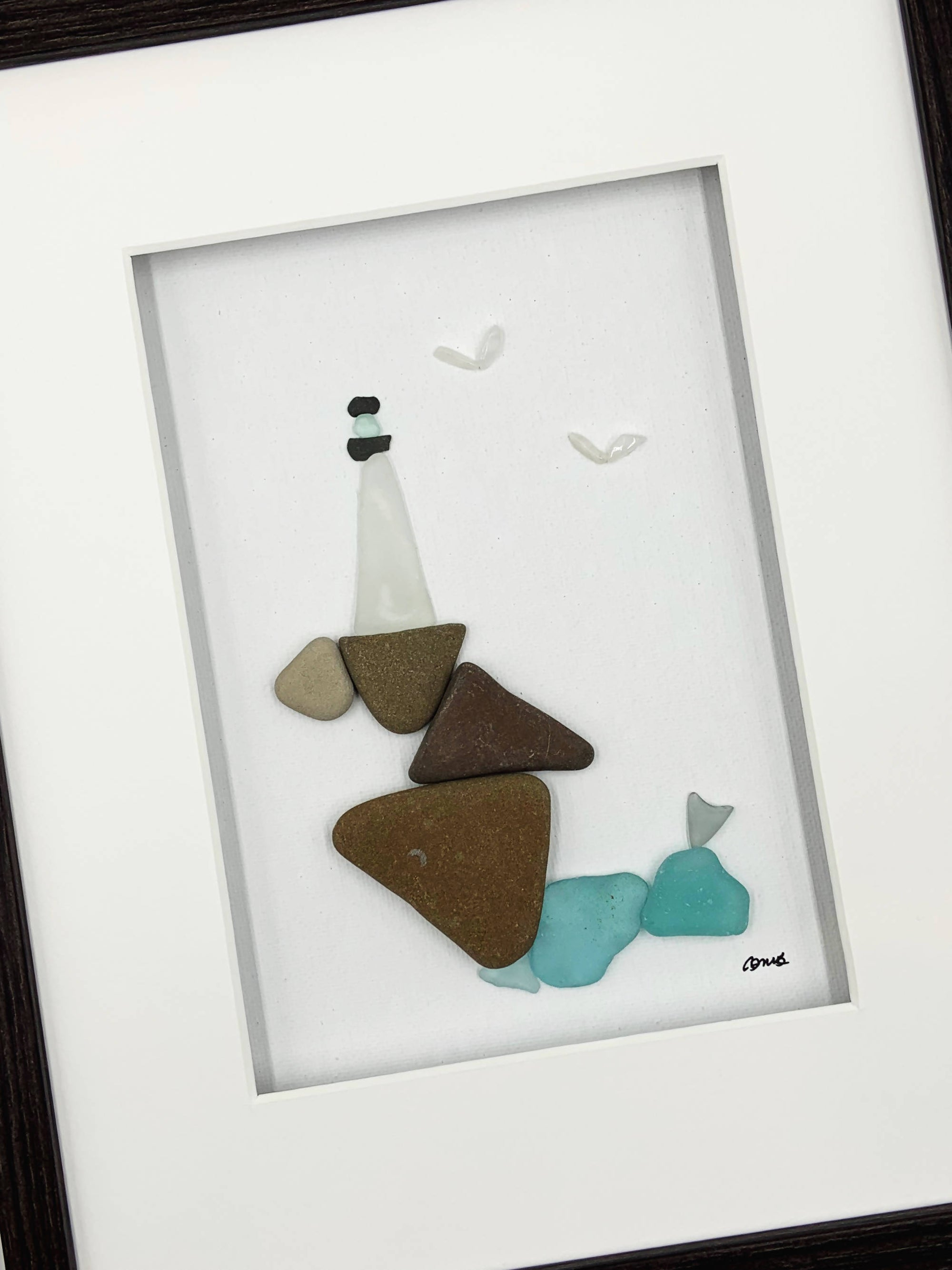 Sea glass art / pebble art, 8 by 10, lighthouse
