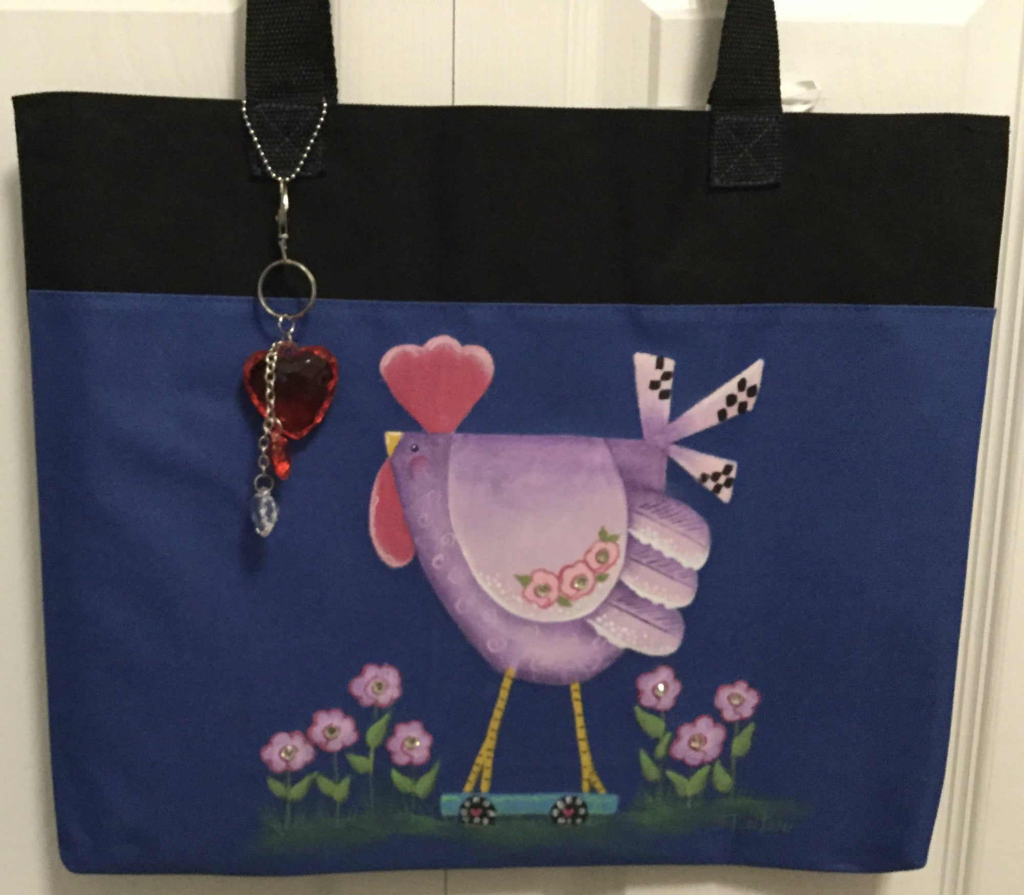 A Hand Painted Canvas Shopping Bag with Cute Chicken and Flowers