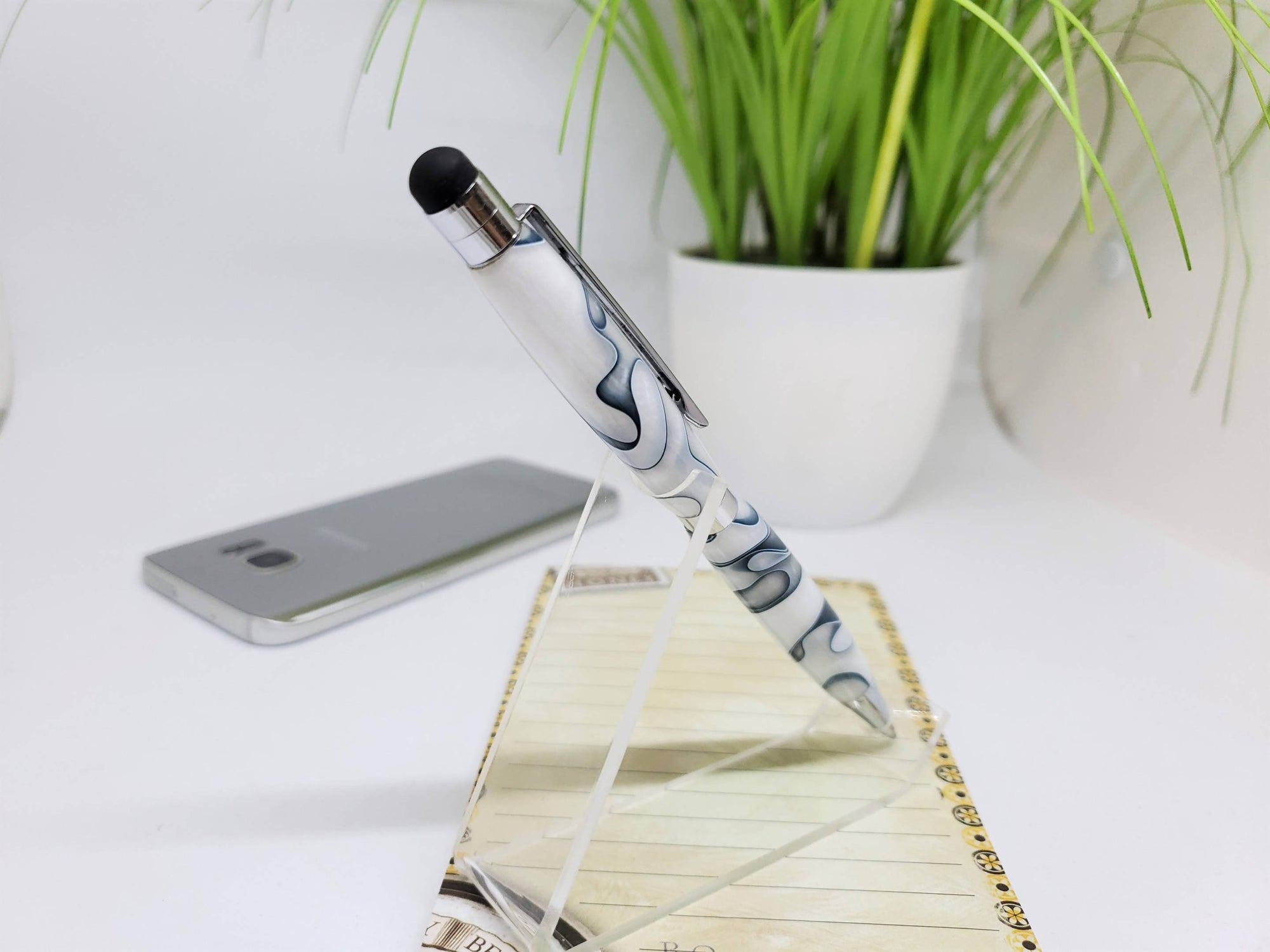 Stylus Pen, Hand Turned, Arctic Ocean Acrylic Body, Chrome Trim, Extra Refill, Gift for Mom, Gift for Daughter, Mother