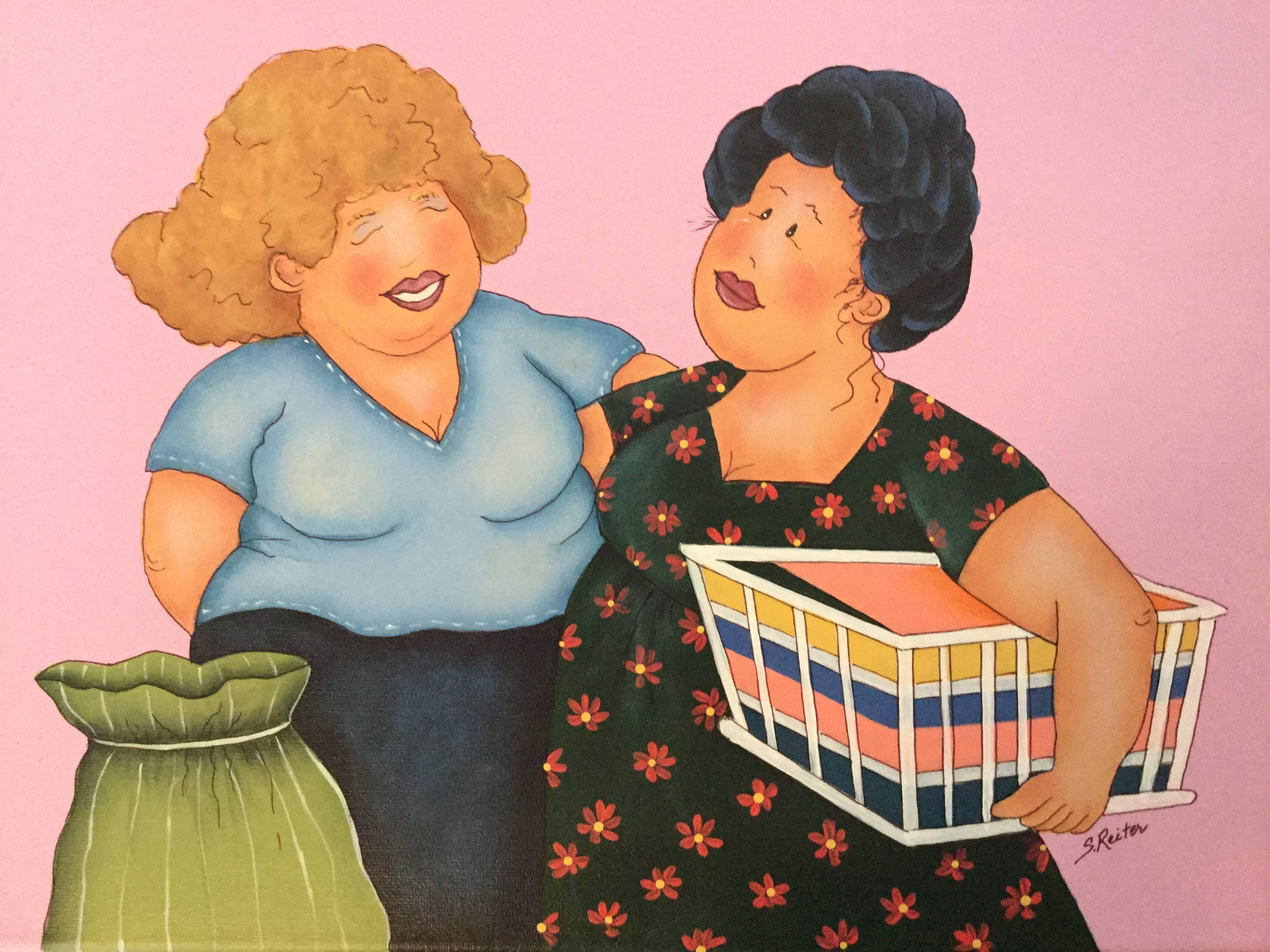A Painting of Two Ladies Doing Laundry and Laughing. - Pink Background