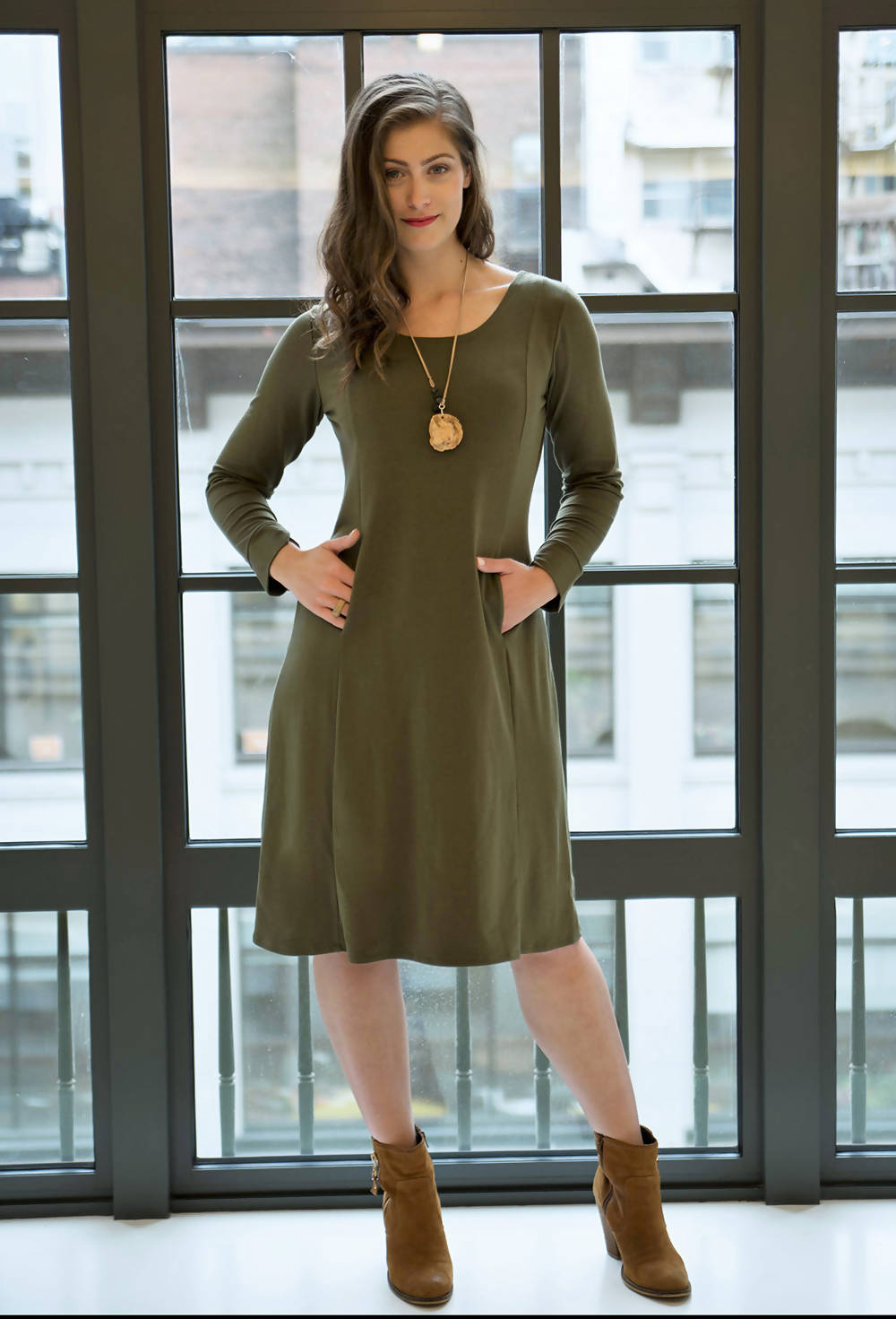 Hawthorn Bamboo Terry Dress - Olive Green