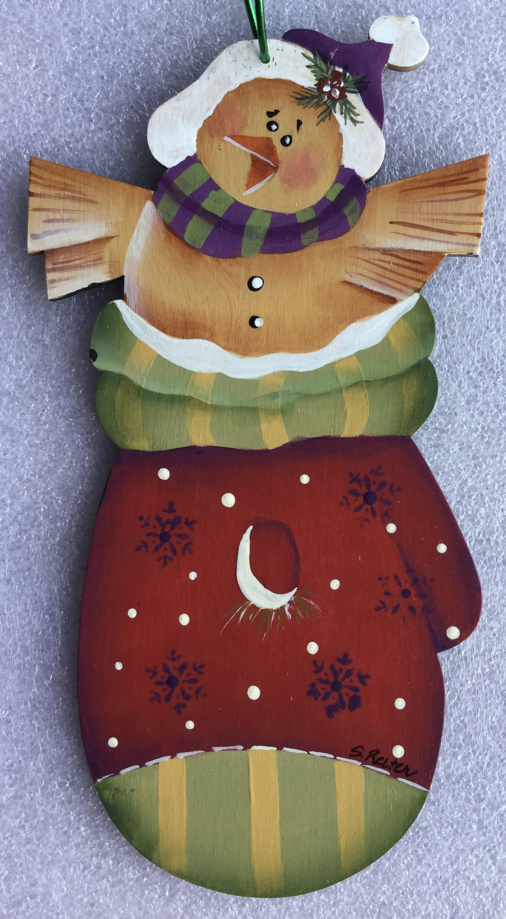 Wooden Cut Out Christmas Ornament Of a Hand Painted Bird in a Mitten