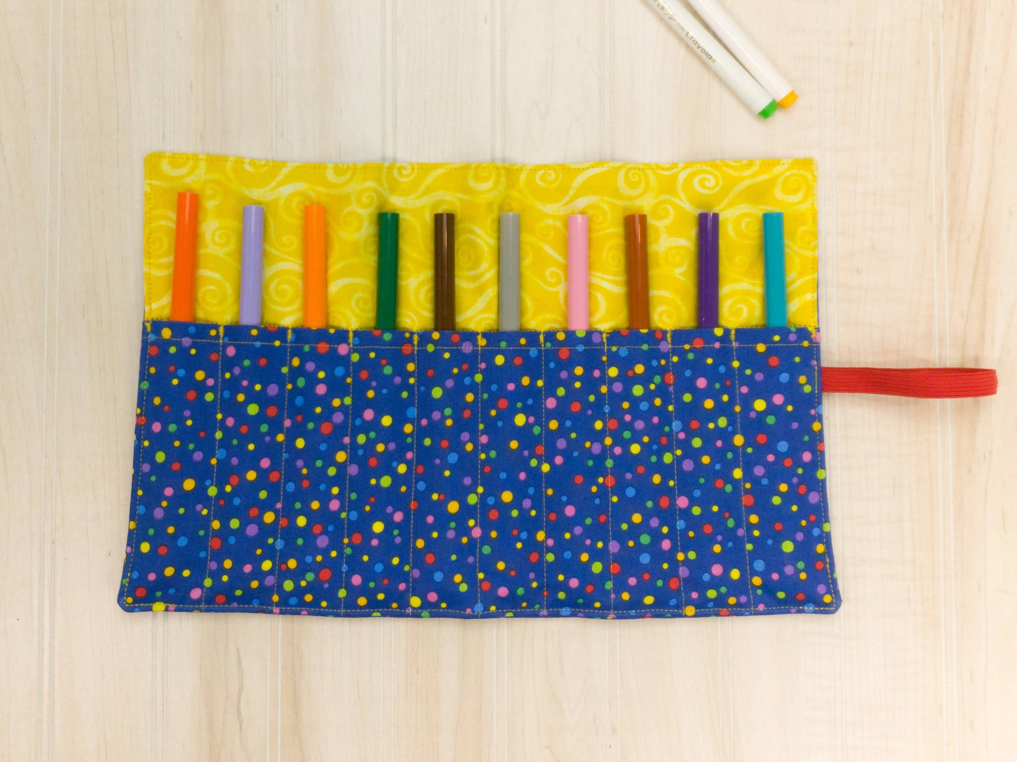 Marker Roll Up - Pencil Crayon Pouch - Blue Dot - Personalised