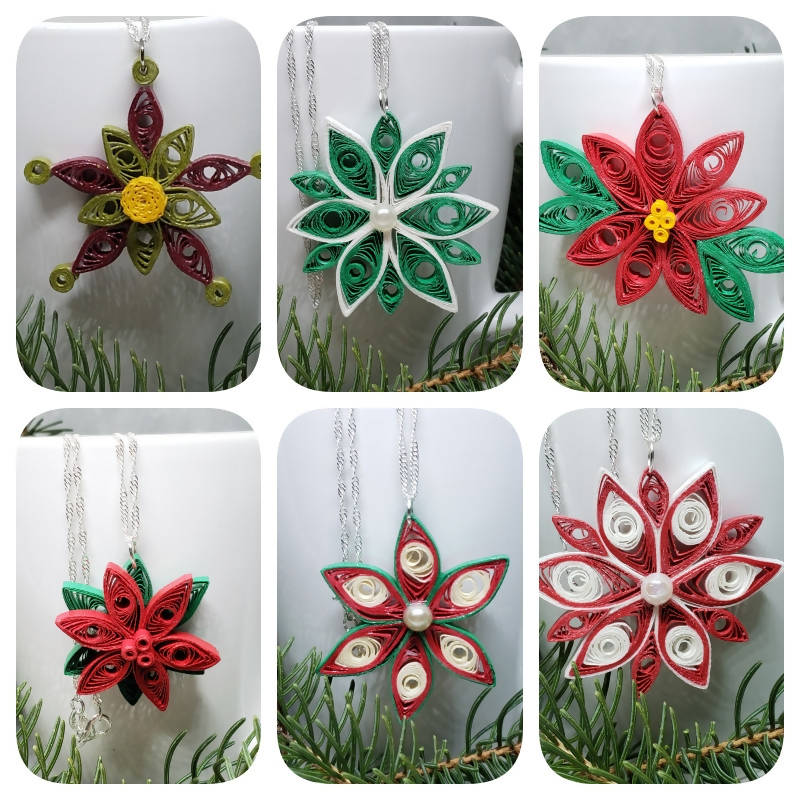 """FREE SHIPPING"" Quilled Poinsettia Necklaces (Sterling Silver)"