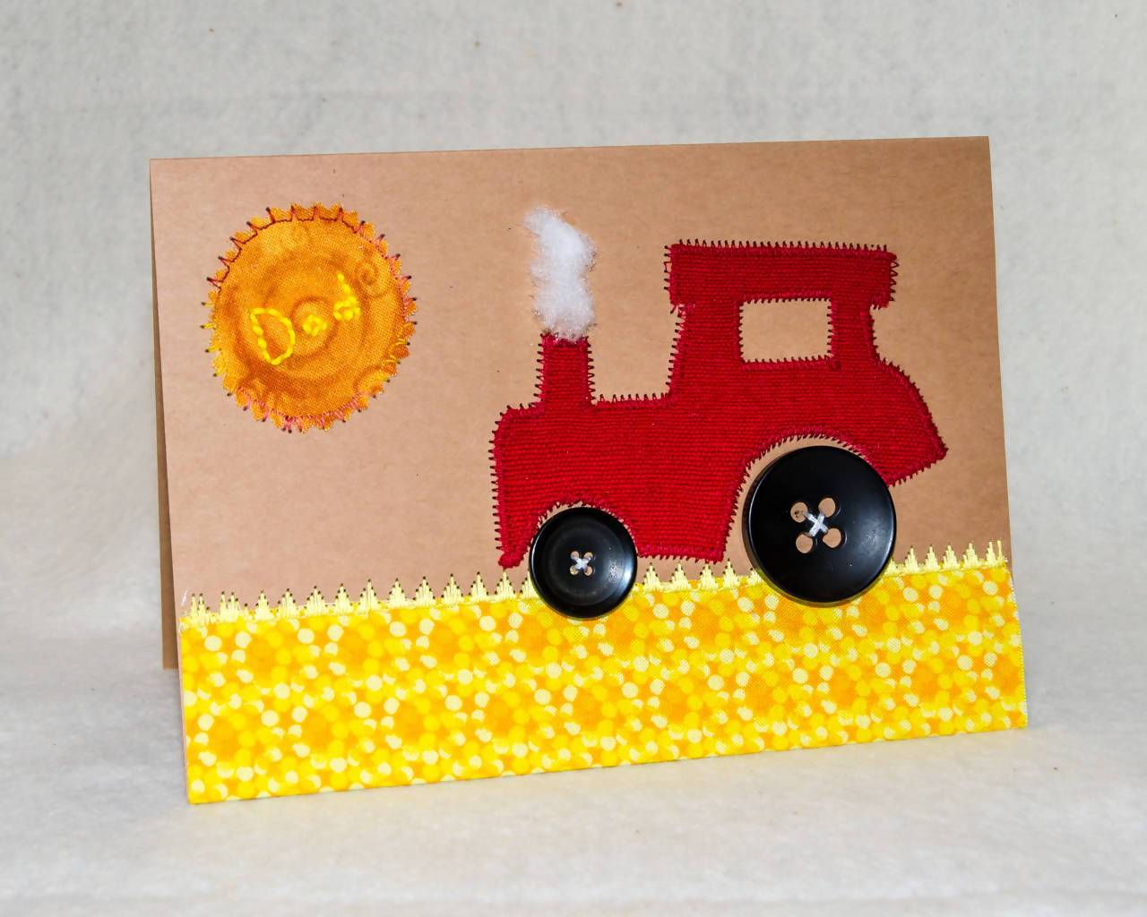 Father's Day Greeting Card - Handmade - Red tractor on a canola field