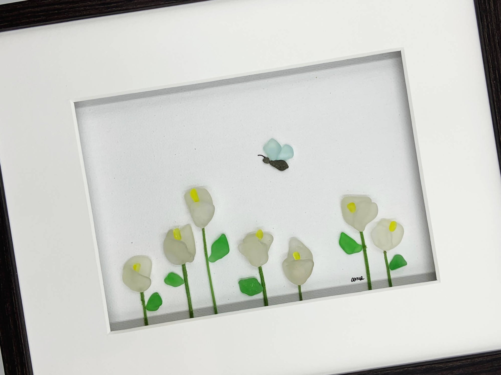 Sea glass art / pebble art, 10 by 8, Calla Lilies