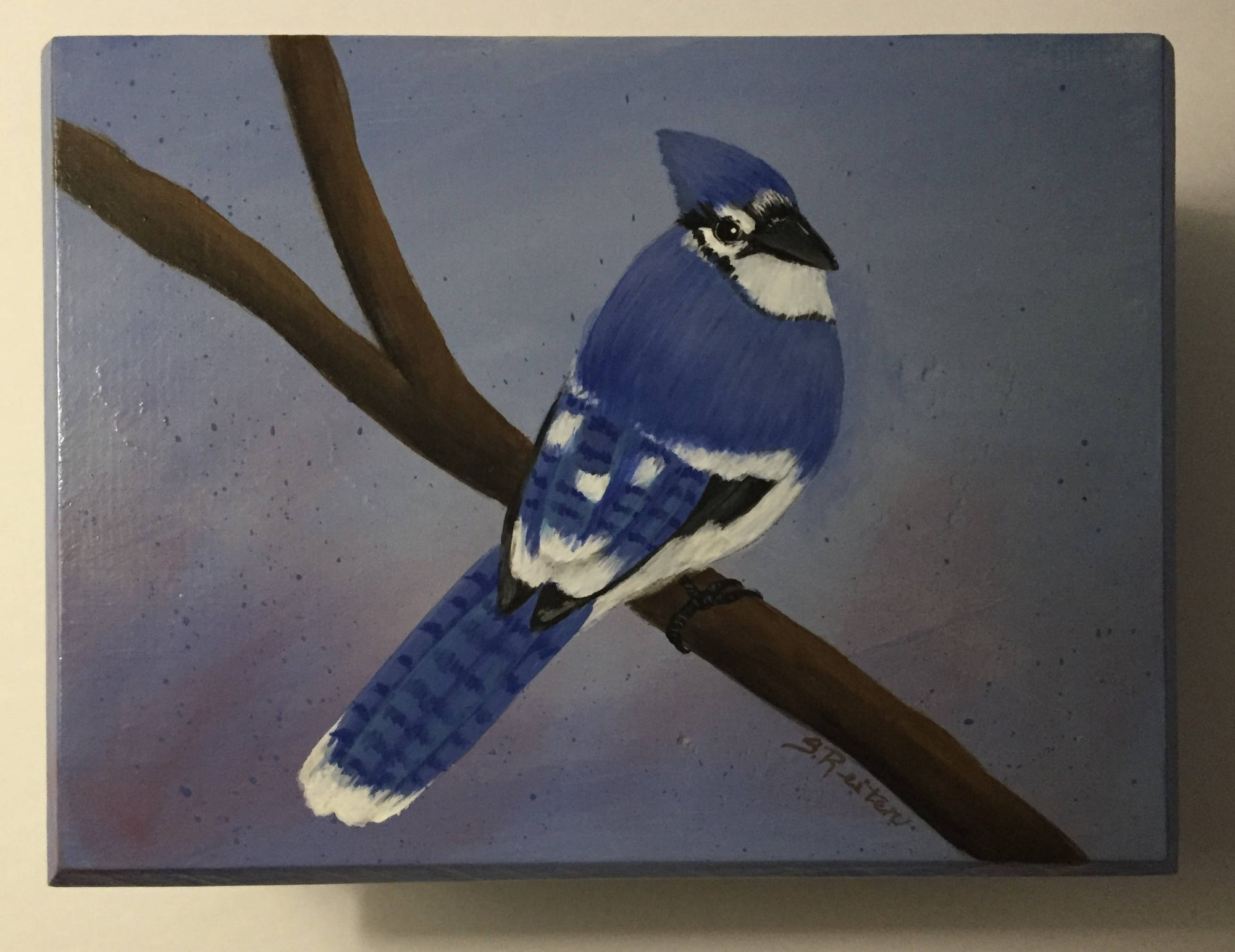 Small Wooden Box With A Hinged Lid and Hand Painted With A Bluejay - Great to Store Tea or Coffee
