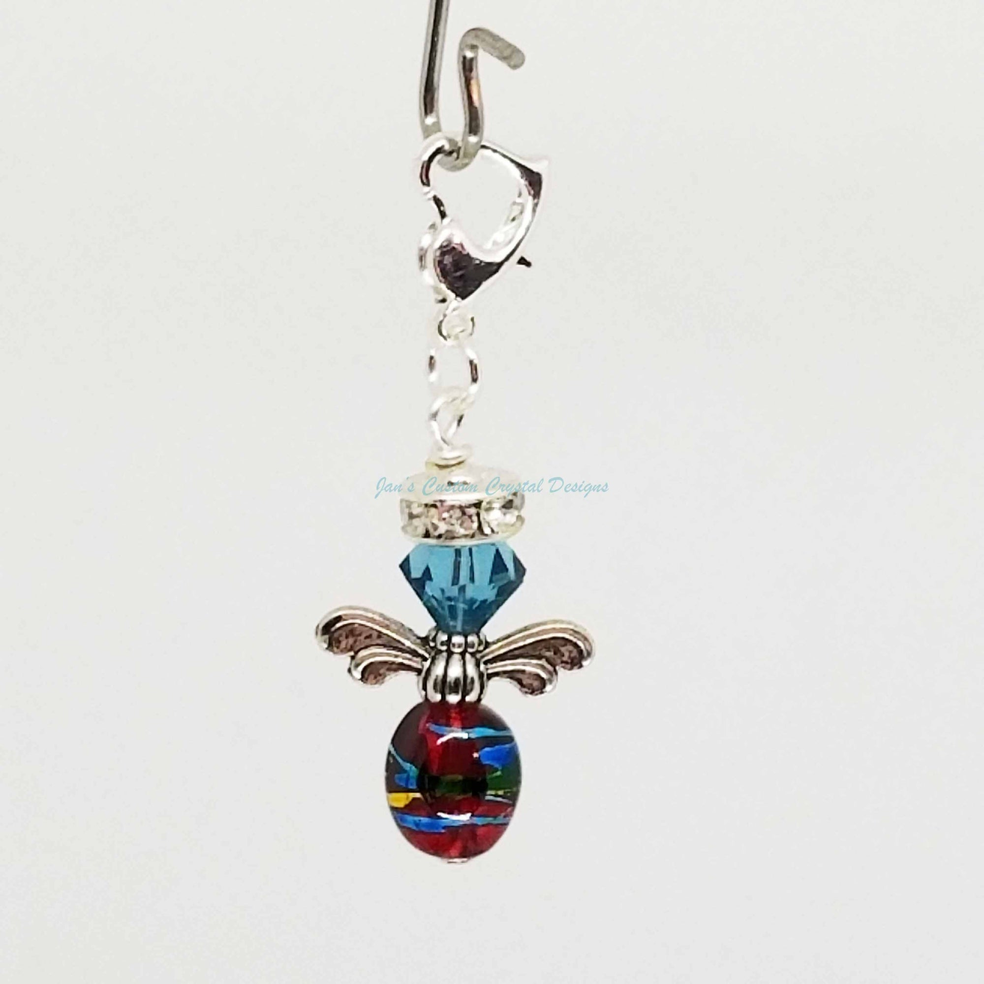 Candy Drop Angel - Swarovski® Crystal and Czech Style Olive Glass Bead Zipper Pull - Indicolite and Red
