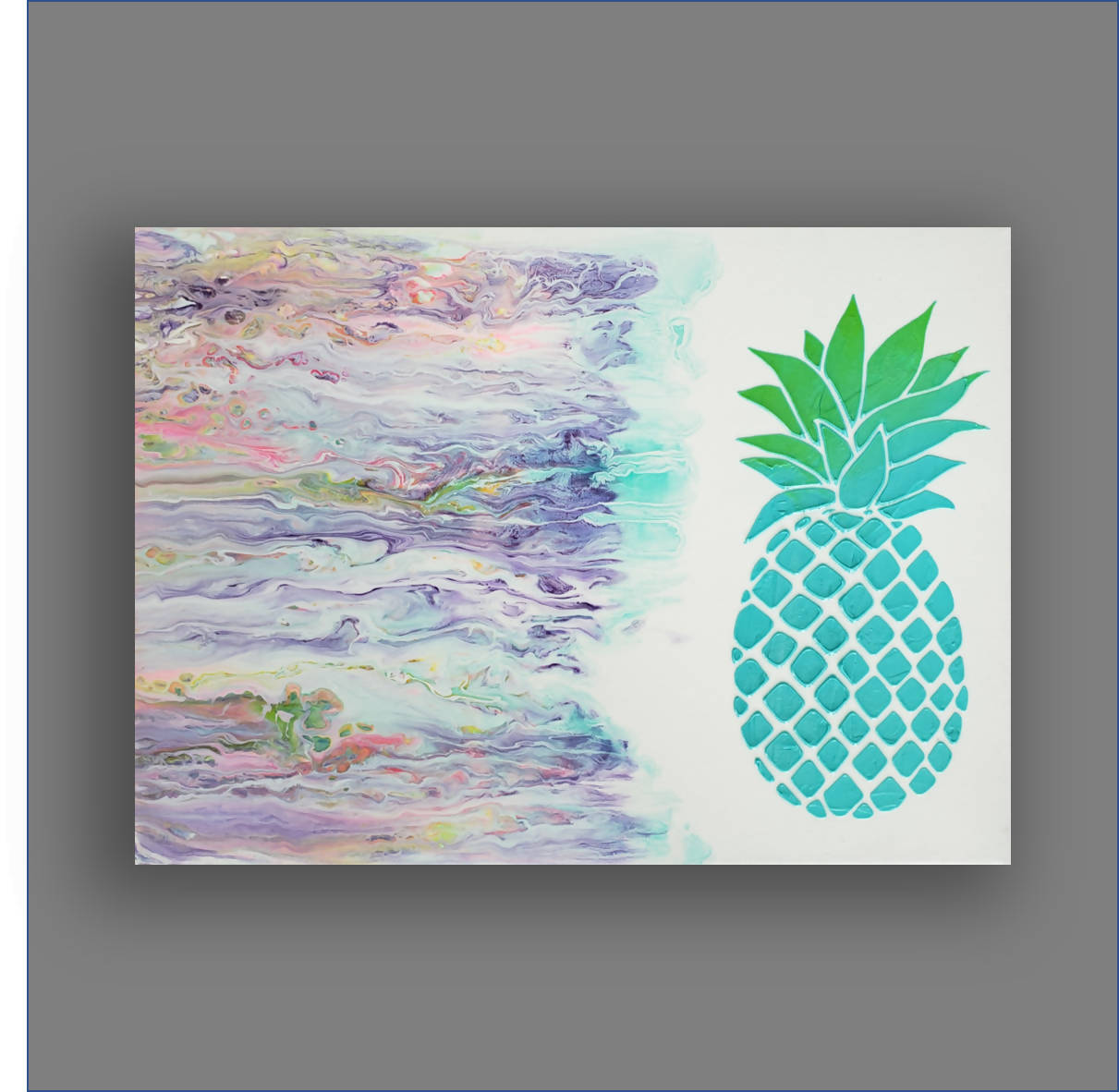 """Paradise Calls"" Original Small Abstract Painting with Pineapple"