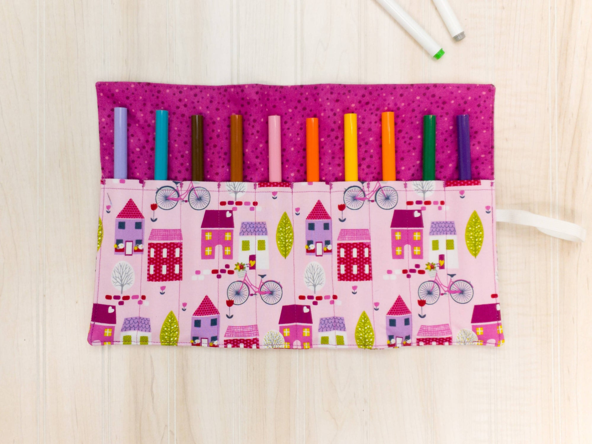 Marker Roll Up - Pencil Crayon Pouch - Dark Pink Houses - Personalised