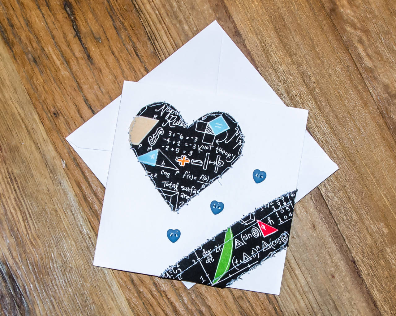 Handmade - Fabric on paper Greeting Card, Heart-shaped math theme - Blank Inside for any occasion/Valentines