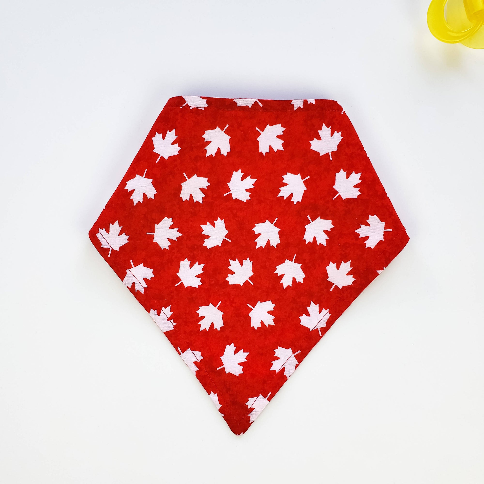 Bandana Bib - White Maple Leafs on Red