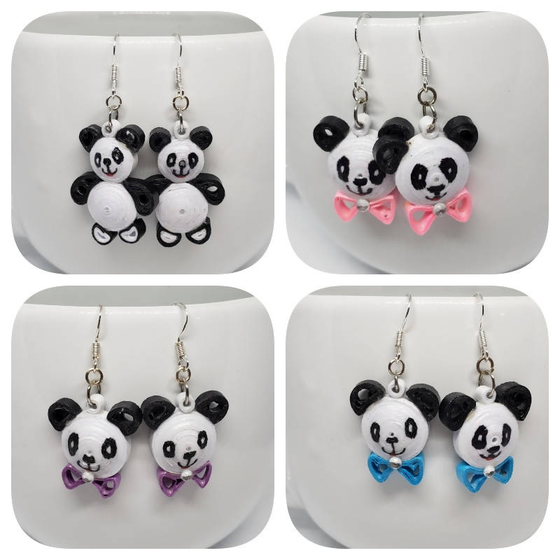 """FREE SHIPPING"" Quilled Panda Bear Earrings (sterling silver)"