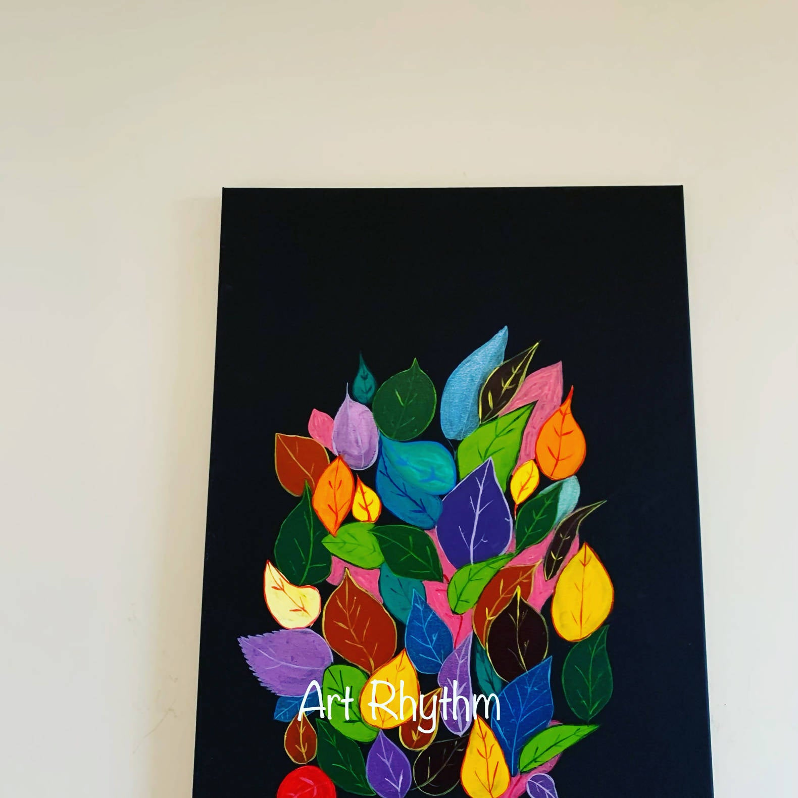 Colorful Leaves abstract canvas painting