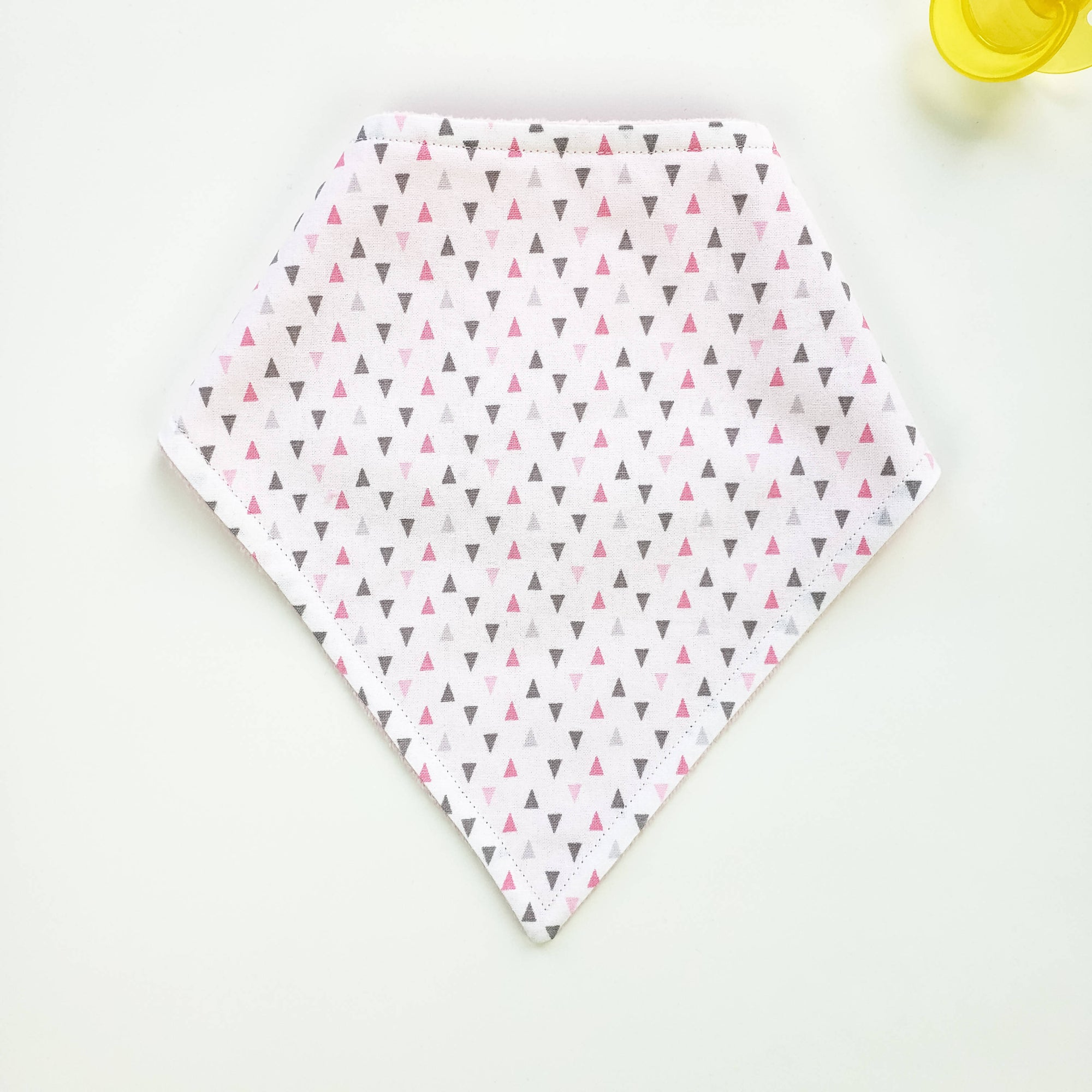 Bandana Bib - Grey & Pink Triangles