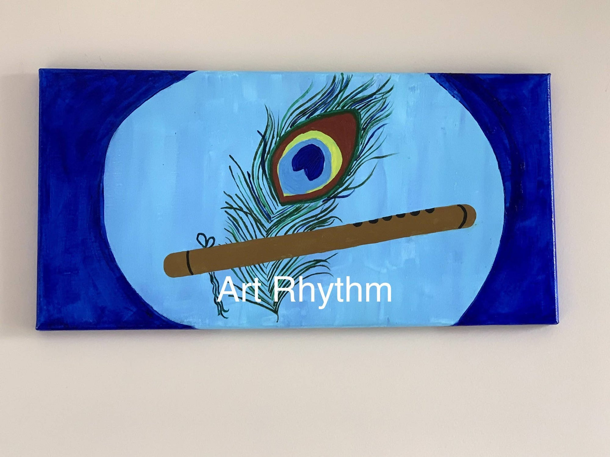 Peacock Feather with Flute Canvas Painting