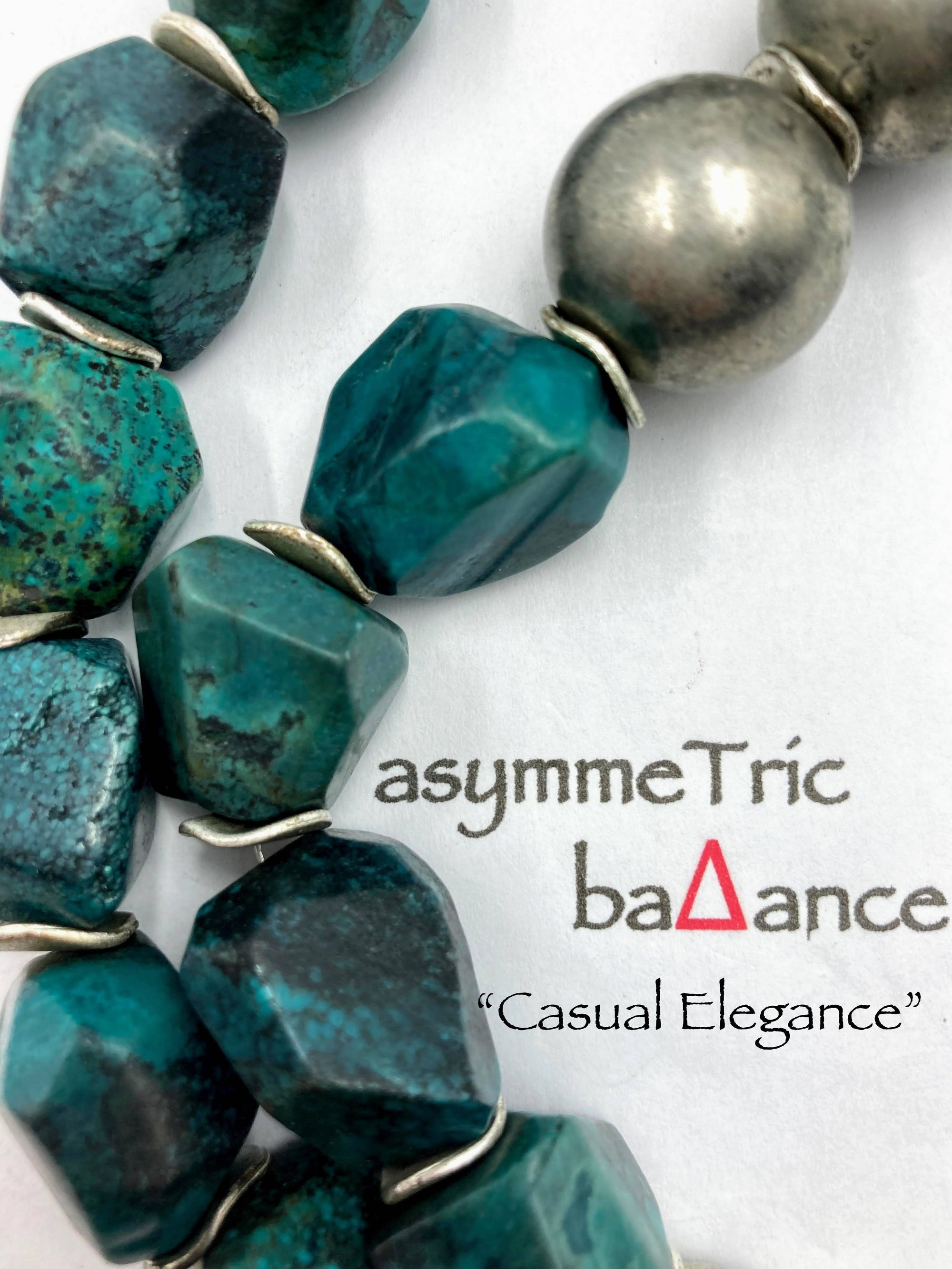 Turquoise Chunks + Old Silver = casual elegance: a bold asymmetric semi-precious gemstone necklace