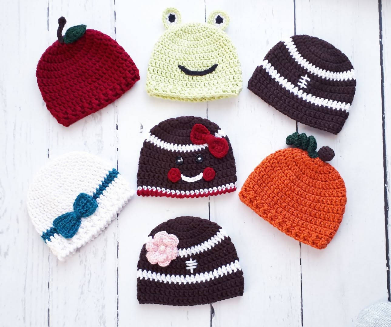 Set of 7 Newborn Hats