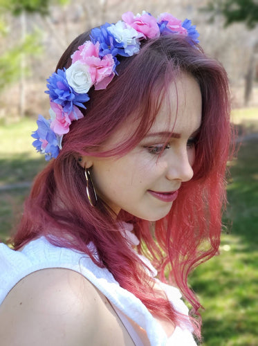 Bright Purple, Pink and White Flower Crown