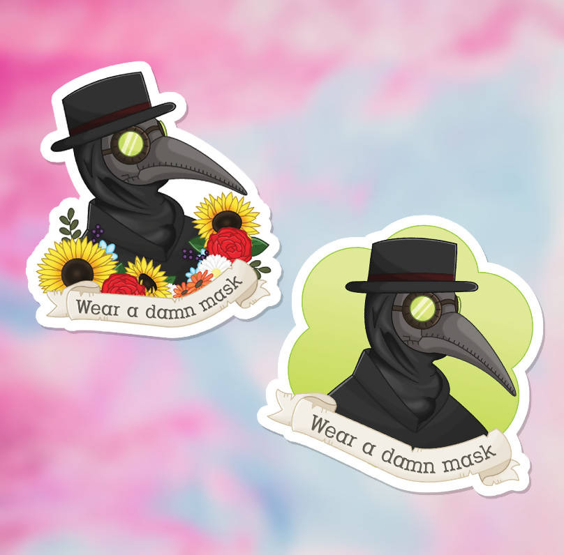 "Wear a Damn Mask Plague Doctor Vinyl Sticker (3"") - 2 Variations - glossy finish"