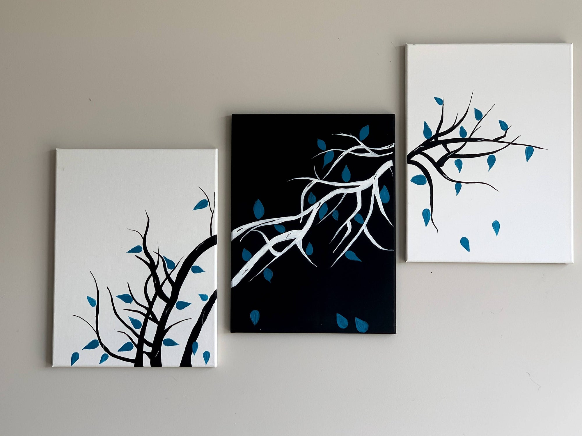 Three-piece abstract Branches Canvas Painting