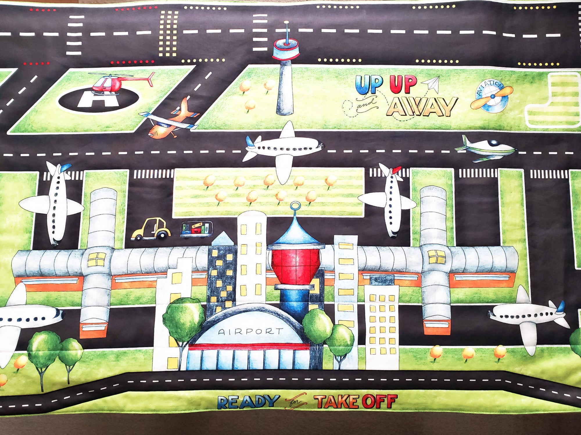 Made to Order Airport Play Mat - Fold Up Travel Air Plane Play Mat Quilt With Pockets for Toy Storage