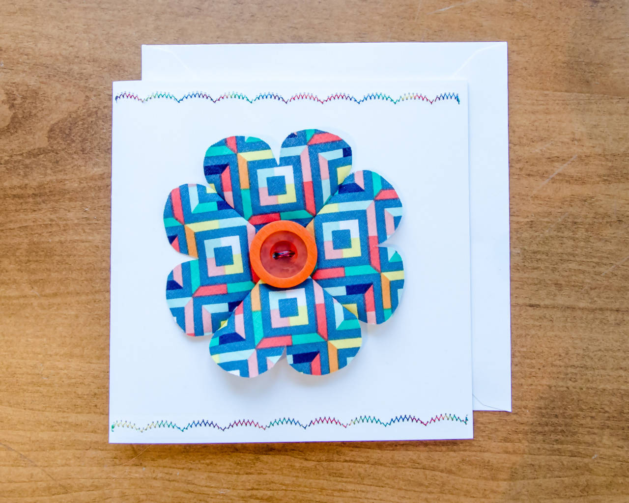 Hearts Flower Greeting Card - Handmade - Fabric on paper / Blank Inside for any occasion