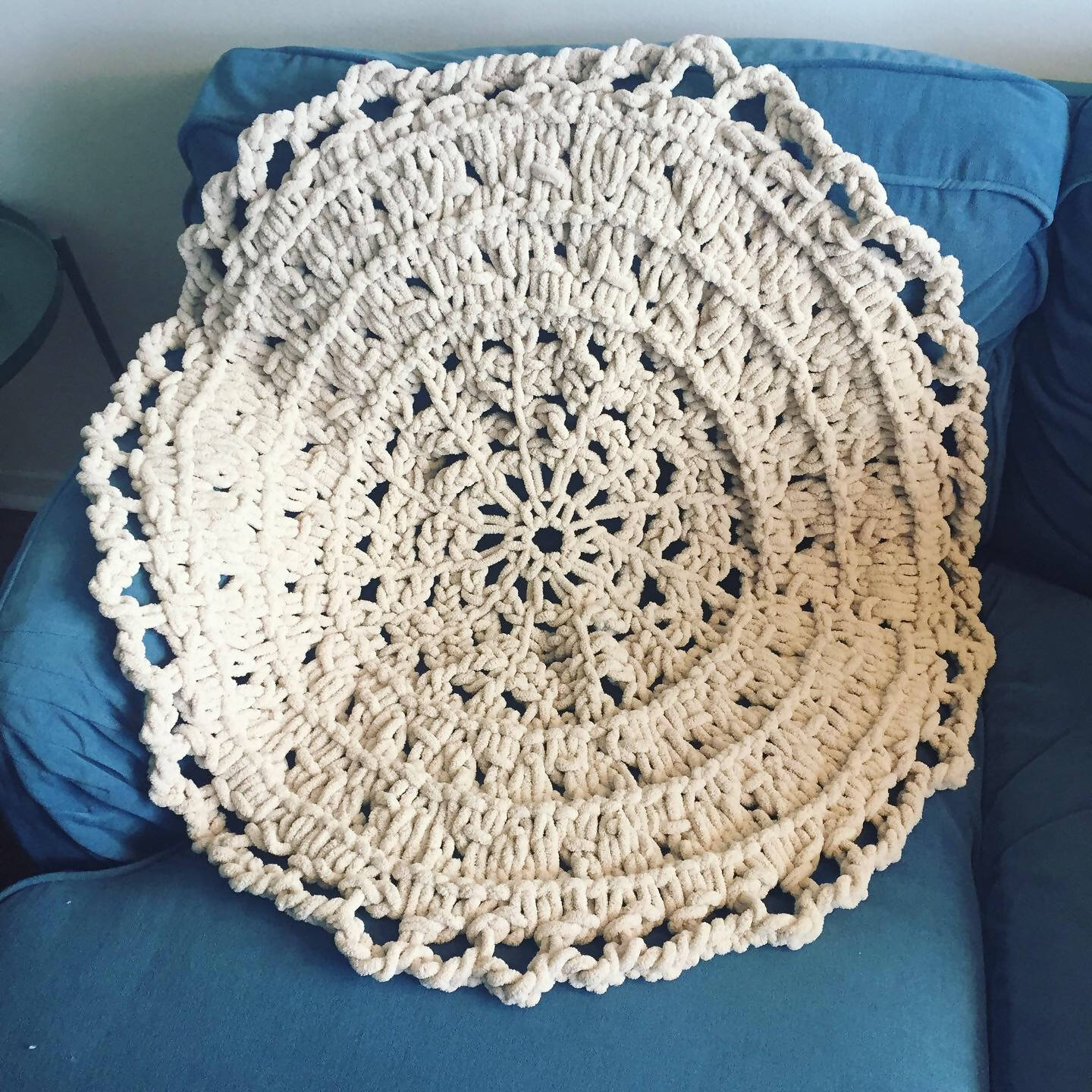 Circular Knitted Throw Blanket