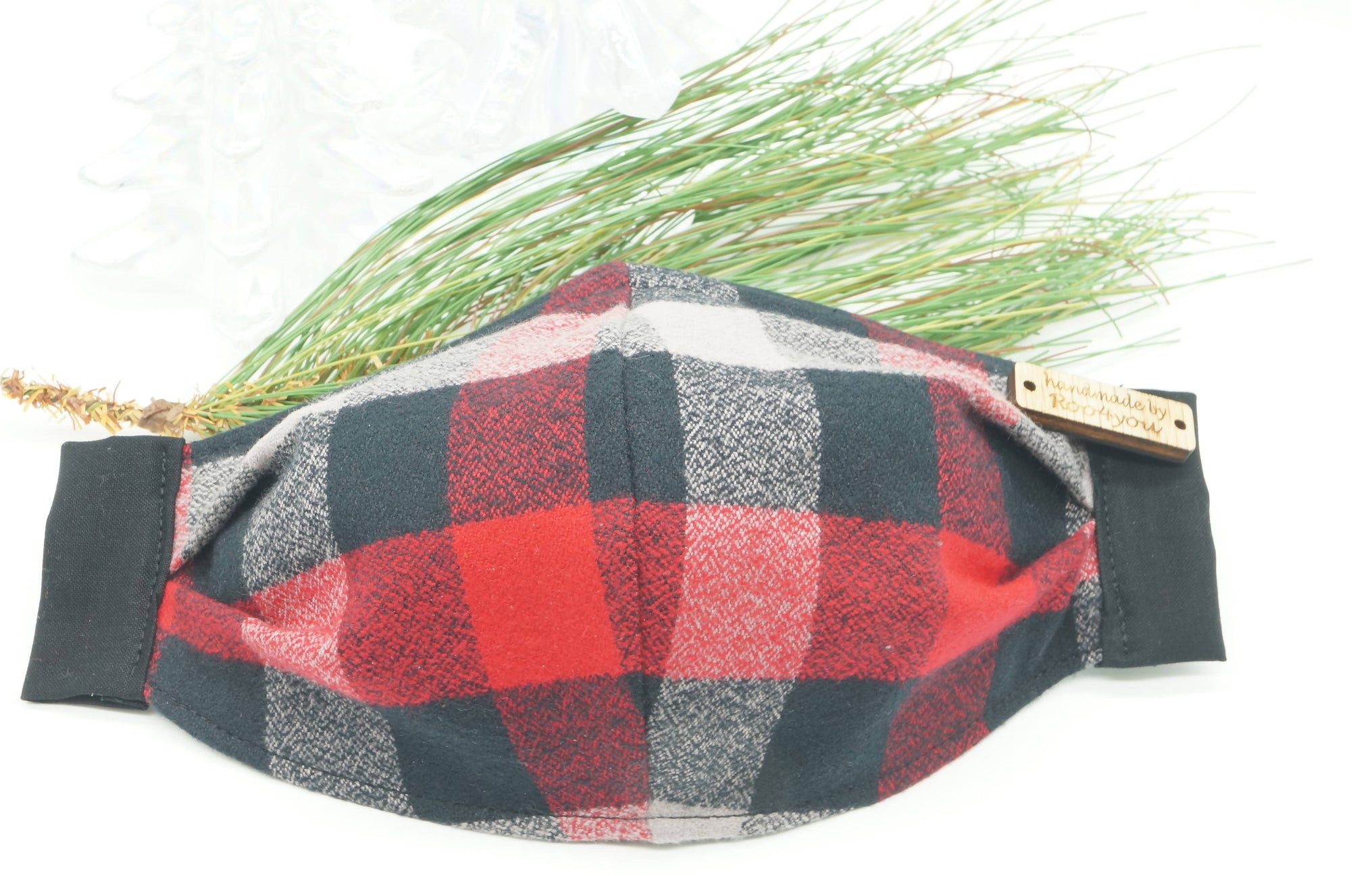 Black and Red Plaid Flannel Mask FREE SHIPPING
