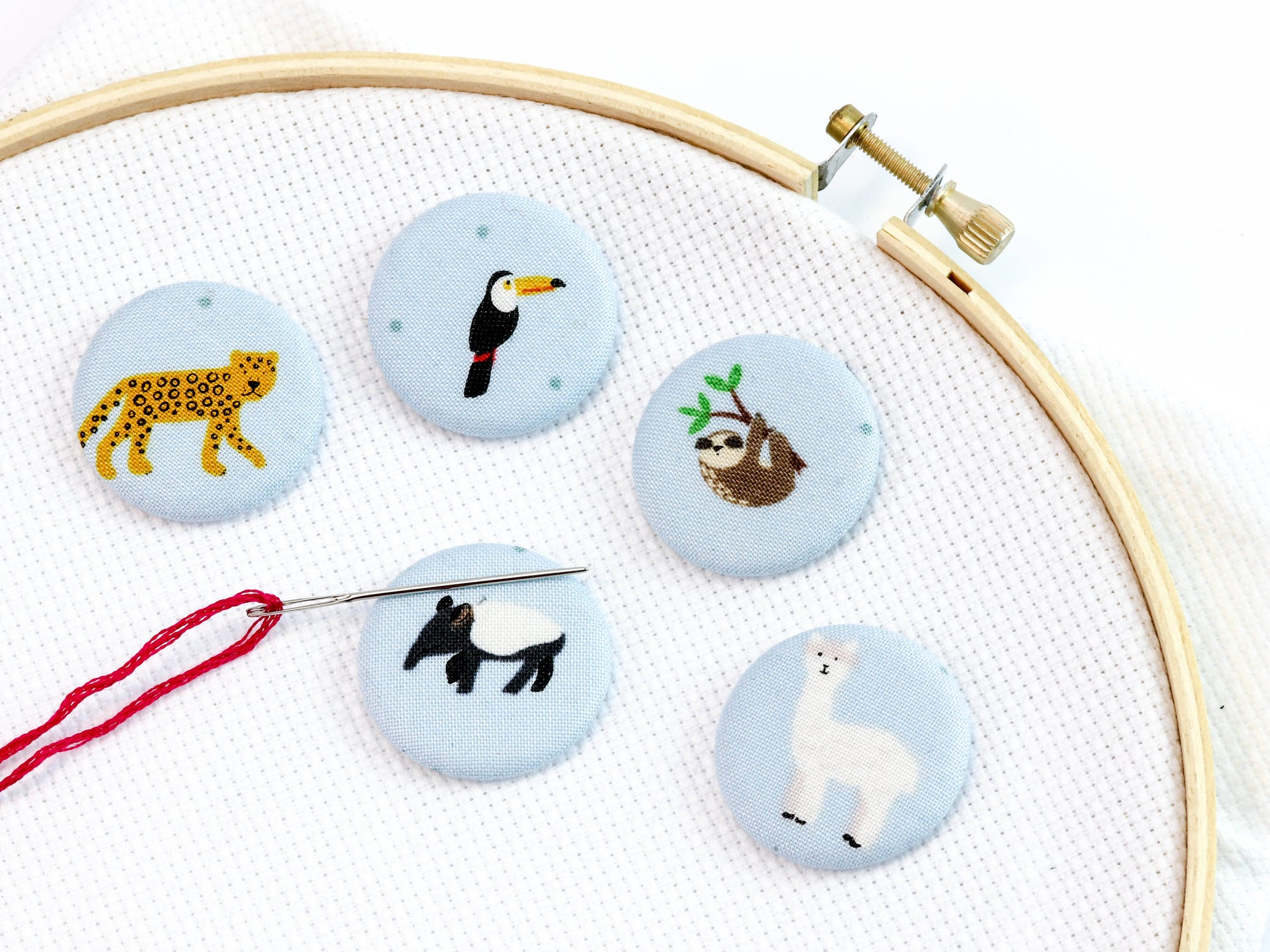 Needle minder: South American Animals on Blue - Fabric Needlekeepers with Strong Ceramic Magnets for Embroidery, Cross Stitch, Crafting